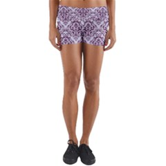Damask1 White Marble & Purple Leather (r) Yoga Shorts