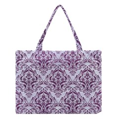 Damask1 White Marble & Purple Leather (r) Medium Tote Bag by trendistuff