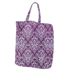 Damask1 White Marble & Purple Leather Giant Grocery Zipper Tote