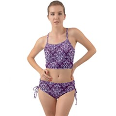 Damask1 White Marble & Purple Leather Mini Tank Bikini Set