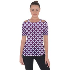 Circles3 White Marble & Purple Leather Short Sleeve Top