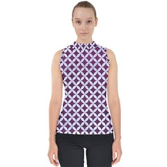 Circles3 White Marble & Purple Leather Shell Top