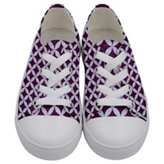 Circles3 White Marble & Purple Leather Kids  Low Top Canvas Sneakers