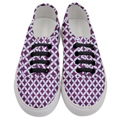 Circles3 White Marble & Purple Leather Women s Classic Low Top Sneakers