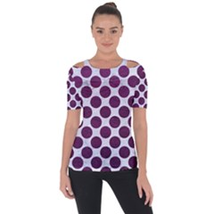 Circles2 White Marble & Purple Leather (r) Short Sleeve Top