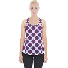 Circles2 White Marble & Purple Leather (r) Piece Up Tank Top