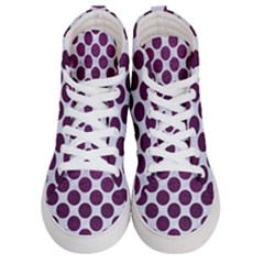 Circles2 White Marble & Purple Leather (r) Women s Hi Top Skate Sneakers