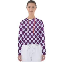 Circles2 White Marble & Purple Leather (r) Women s Slouchy Sweat