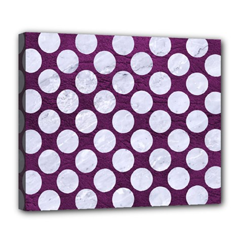 Circles2 White Marble & Purple Leather Deluxe Canvas 24  X 20   by trendistuff