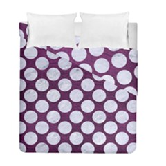 Circles2 White Marble & Purple Leather Duvet Cover Double Side (full/ Double Size) by trendistuff