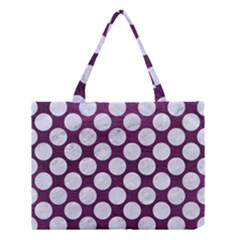 Circles2 White Marble & Purple Leather Medium Tote Bag by trendistuff