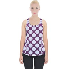 Circles2 White Marble & Purple Leather Piece Up Tank Top