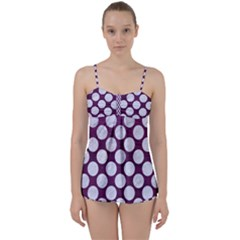 Circles2 White Marble & Purple Leather Babydoll Tankini Set