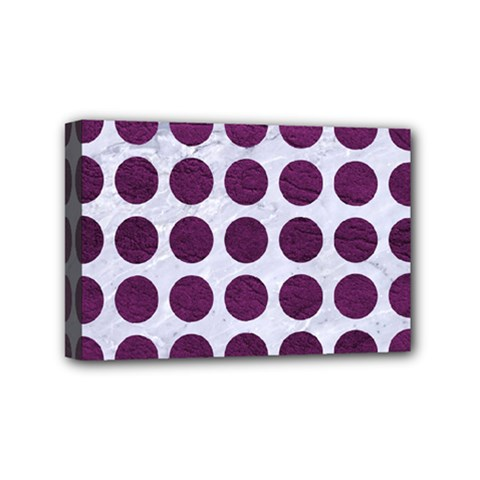 Circles1 White Marble & Purple Leather (r) Mini Canvas 6  X 4  by trendistuff