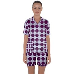 Circles1 White Marble & Purple Leather (r) Satin Short Sleeve Pyjamas Set