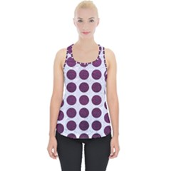 Circles1 White Marble & Purple Leather (r) Piece Up Tank Top