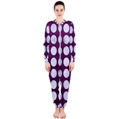 Circles1 White Marble & Purple Leather Onepiece Jumpsuit (ladies)