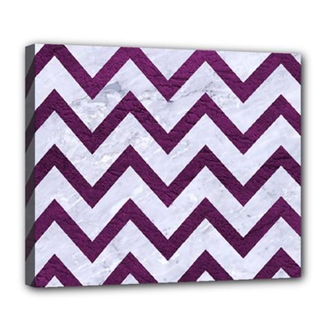 Chevron9 White Marble & Purple Leather (r) Deluxe Canvas 24  X 20