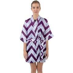 Chevron9 White Marble & Purple Leather (r) Quarter Sleeve Kimono Robe