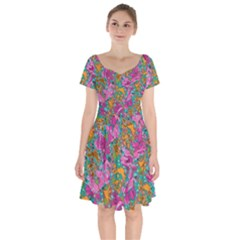 Flower Paisley 1 Short Sleeve Bardot Dress