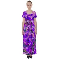 Watercolour Paint Dripping Ink High Waist Short Sleeve Maxi Dress