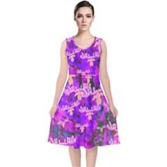 Watercolour Paint Dripping Ink V Neck Midi Sleeveless Dress