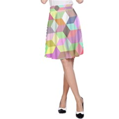 Mosaic Background Cube Pattern A Line Skirt by Sapixe