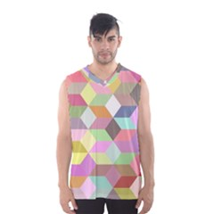 Mosaic Background Cube Pattern Men s Basketball Tank Top by Sapixe
