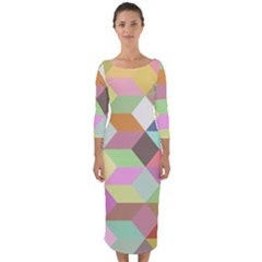 Mosaic Background Cube Pattern Quarter Sleeve Midi Bodycon Dress by Sapixe