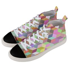Mosaic Background Cube Pattern Men s Mid Top Canvas Sneakers by Sapixe