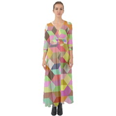 Mosaic Background Cube Pattern Button Up Boho Maxi Dress by Sapixe