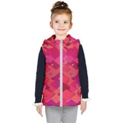 Red Background Pattern Square Kid s Hooded Puffer Vest