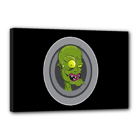 Zombie Pictured Illustration Canvas 18  X 12  by Sapixe