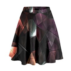 Crystals Background Design Luxury High Waist Skirt by Sapixe