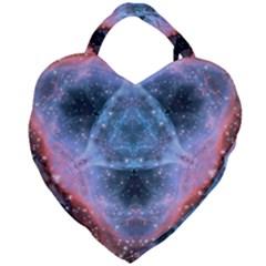 Sacred Geometry Mandelbrot Fractal Giant Heart Shaped Tote by Sapixe