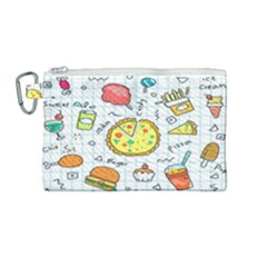 Colorful Doodle Soda Cartoon Set Canvas Cosmetic Bag (medium) by Sapixe