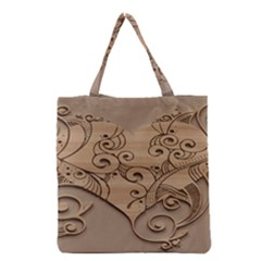 Wood Sculpt Carved Background Grocery Tote Bag by Sapixe