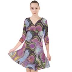 Retro Background Colorful Hippie Quarter Sleeve Front Wrap Dress