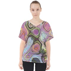 Retro Background Colorful Hippie V Neck Dolman Drape Top