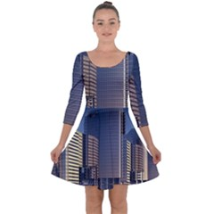 Skyscraper Skyscrapers Building Quarter Sleeve Skater Dress