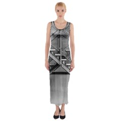 Architecture Stairs Steel Abstract Fitted Maxi Dress