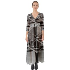 Architecture Stairs Steel Abstract Button Up Boho Maxi Dress