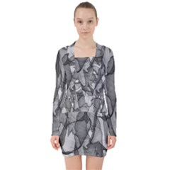 Abstract Black And White Background V Neck Bodycon Long Sleeve Dress