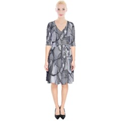 Abstract Black And White Background Wrap Up Cocktail Dress