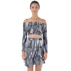 Abstract Black And White Background Off Shoulder Top With Skirt Set