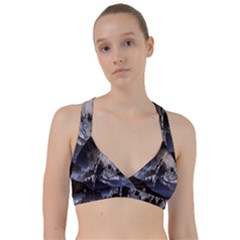 Mountains Moon Earth Space Sweetheart Sports Bra