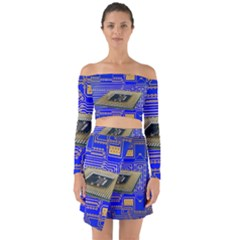 Processor Cpu Board Circuits Off Shoulder Top With Skirt Set