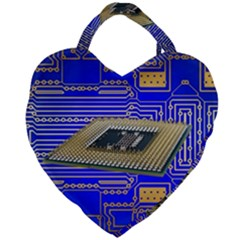 Processor Cpu Board Circuits Giant Heart Shaped Tote