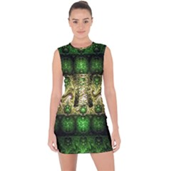 Fractal Art Digital Art Lace Up Front Bodycon Dress