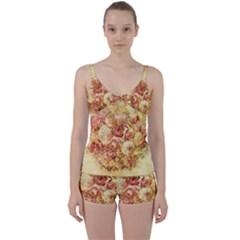 Vintage Digital Graphics Flower Tie Front Two Piece Tankini